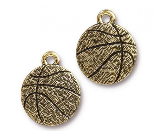 19mm Basketball Charm by TierraCast, Antique Gold