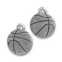 19mm Basketball Charm by TierraCast, Antique Silver
