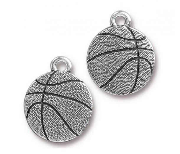 19mm Basketball Charm by Tierracast®, Antique Silver