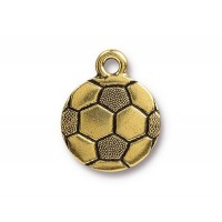 19mm Soccer Ball Charm by TierraCast, Antique Gold