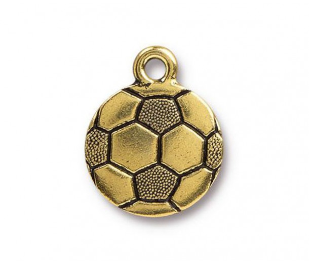 19mm Soccer Ball Charm by Tierracast®, Antique Gold