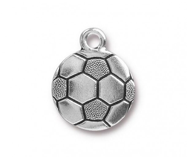 19mm Soccer Ball Charm by TierraCast, Antique Silver