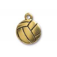 19mm Volleyball Charm by TierraCast, Antique Gold