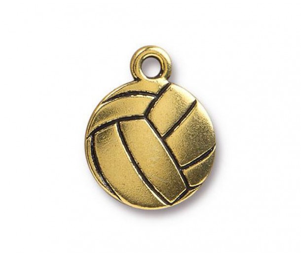 19mm Volleyball Charm by Tierracast®, Antique Gold