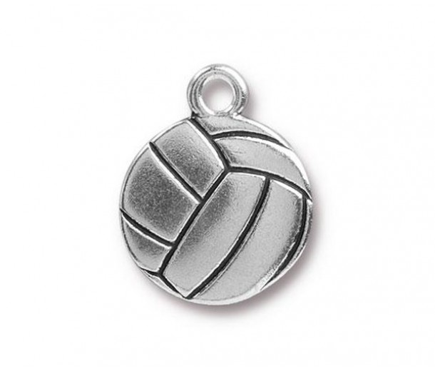 19mm Volleyball Charm by Tierracast®, Antique Silver