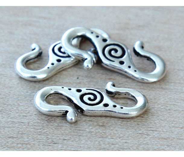 23x10mm Spiral S-Hook Clasp by TierraCast, Antique Silver