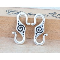 23x10mm Spiral S-Hook Clasp by TierraCast®, Antique Silver