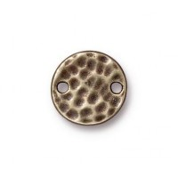 11mm Hammertone Round Link by TierraCast, Brass Oxide