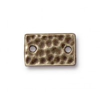 13x8mm Hammertone Rectangular Link by TierraCast, Brass Oxide, Pack of 4