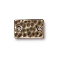 13x8mm Hammertone Rectangular Link by TierraCast®, Brass Oxide