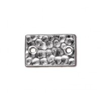 13x8mm Hammertone Rectangular Link by TierraCast, Bright Rhodium