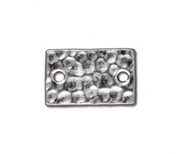 13x8mm Hammertone Rectangular Link by TierraCast, Bright Rhodium, Pack of 4