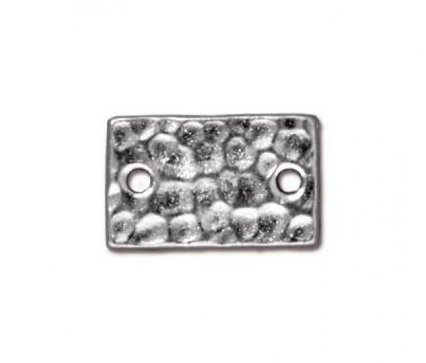 13x8mm Hammertone Rectangular Link by TierraCast, Bright Rhodium, Pack of 4
