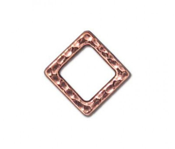 9mm Small Hammertone Square by TierraCast, Antique Copper, Pack of 4