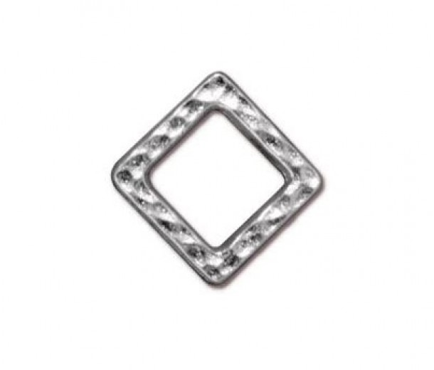9mm Small Hammertone Square by TierraCast, Bright Rhodium, Pack of 4