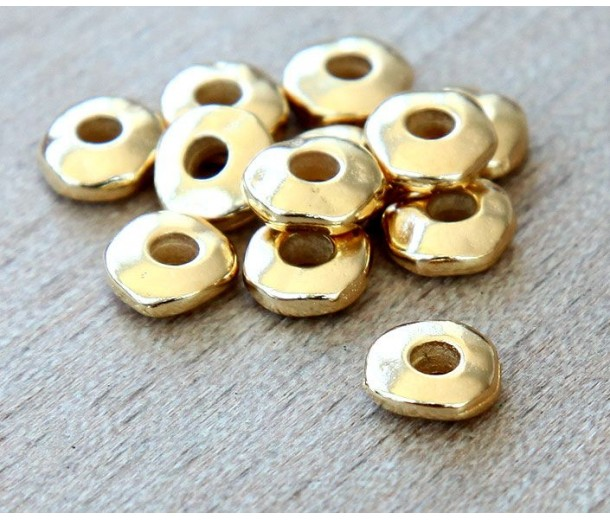6mm Nugget Beads with 2mm Hole by TierraCast, Bright Gold, Pack of 10