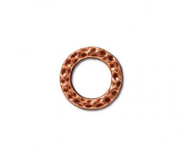 9mm Small Hammertone Rings by TierraCast, Antique Copper, Pack of 4