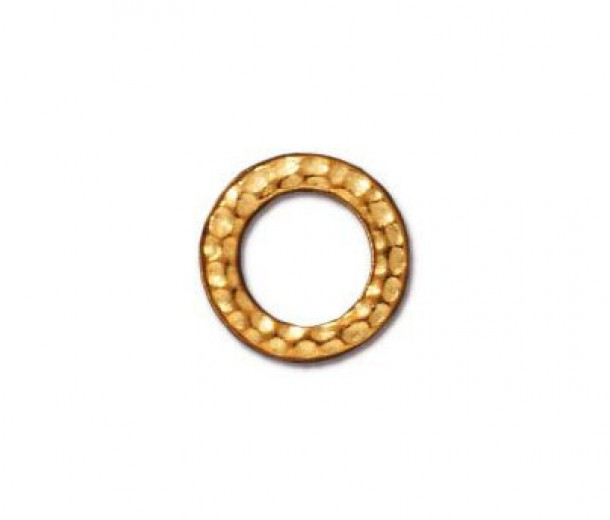 9mm Small Hammertone Rings by TierraCast, Bright Gold, Pack of 4