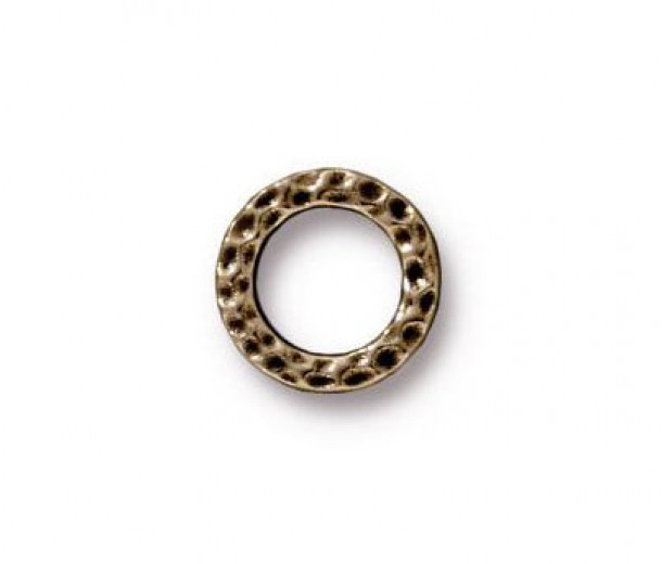 9mm Small Hammertone Rings by TierraCast, Brass Oxide, Pack of 4
