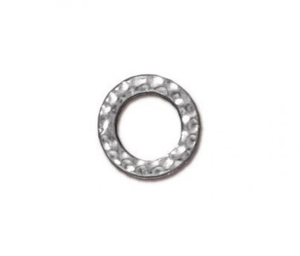 9mm Small Hammertone Rings by TierraCast, Bright Rhodium, Pack of 4
