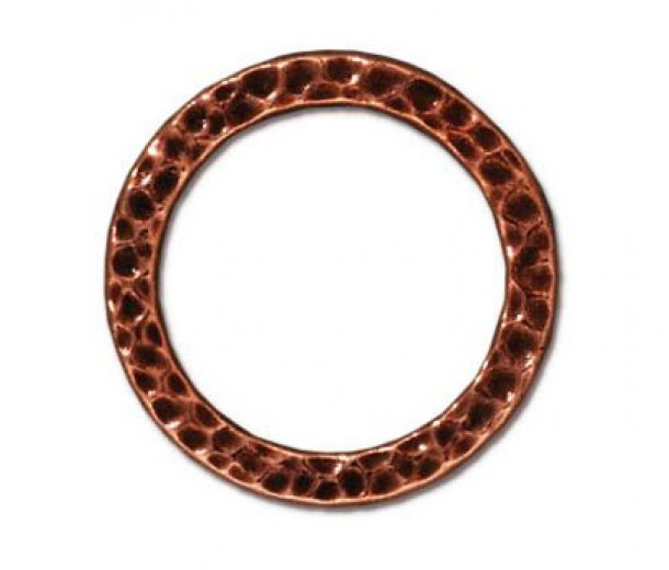 19mm Large Hammertone Ring by TierraCast, Antique Copper, Pack of 2