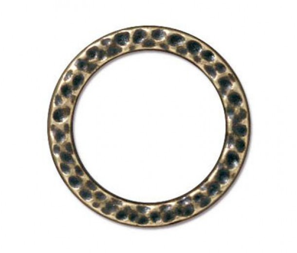 19mm Large Hammertone Ring by TierraCast, Brass Oxide, Pack of 2