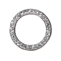 19mm Large Hammertone Ring by TierraCast, Bright Rhodium, Pack of 2