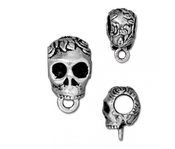 17mm Skull Large Hole Bail by TierraCast, Antique Silver
