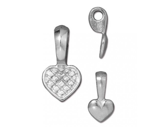 19mm Heart Glue-On Flat Pad Bail by TierraCast, Bright Rhodium