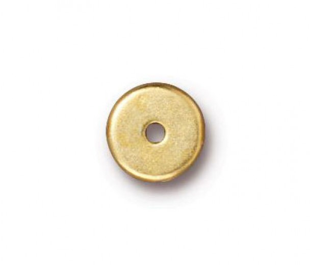 8mm Round Heishi Disks by TierraCast, Bright Gold, Pack of 10