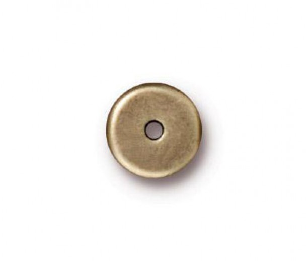 8mm Round Heishi Disks by TierraCast, Antique Brass, Pack of 10