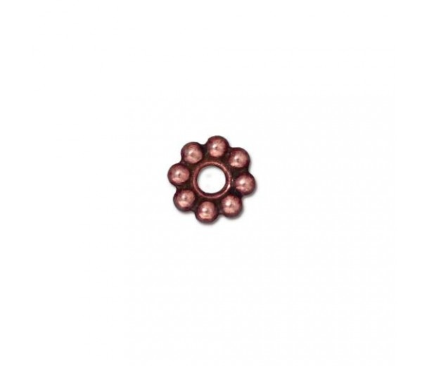 8mm Beaded Large Hole Spacer by TierraCast, Antique Copper, Pack of 4