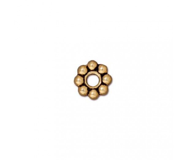 8mm Beaded Large Hole Spacers by TierraCast, Antique Gold, Pack of 4