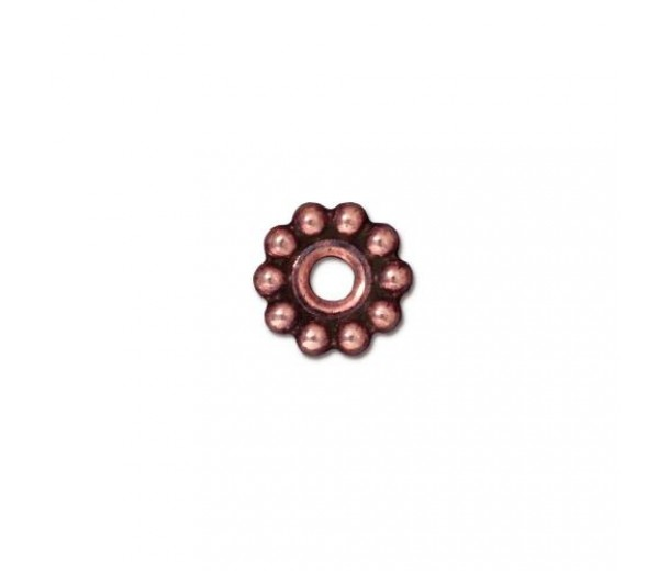 10mm Beaded Large Hole Spacer by TierraCast, Antique Copper, Pack of 4
