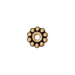10mm Beaded Large Hole Spacer by TierraCast, Antique Gold