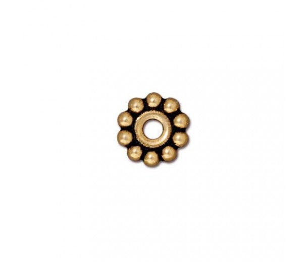 10mm Beaded Large Hole Spacer by TierraCast, Antique Gold, Pack of 4