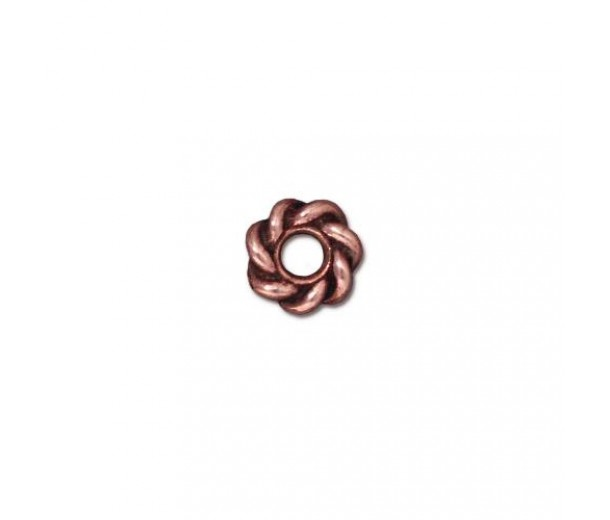 8mm Twisted Large Hole Spacer by TierraCast, Antique Copper, Pack of 4