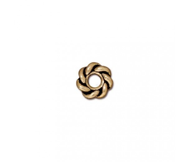8mm Twisted Large Hole Spacers by TierraCast, Antique Gold, Pack of 4