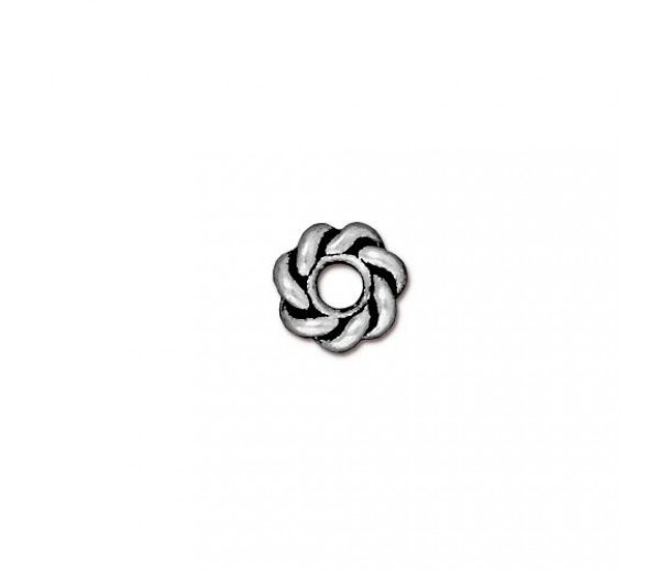 8mm Twisted Large Hole Spacer by TierraCast, Antique Silver, Pack of 4