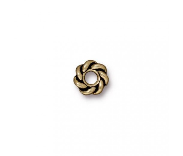 8mm Twisted Large Hole Spacers by TierraCast, Antique Brass, Pack of 4