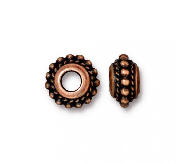 11mm Beaded Twist Large Hole Spacer by TierraCast, Antique Copper, Pack of 4