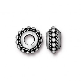 11mm Beaded Twist Large Hole Spacer by TierraCast®, Antique Silver