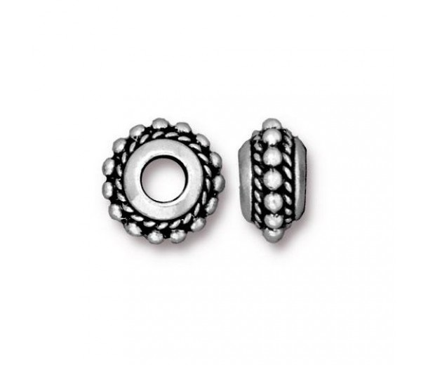 11mm Beaded Twist Large Hole Spacer by TierraCast, Antique Silver, Pack of 4