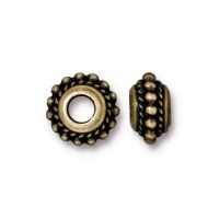11mm Beaded Twist Large Hole Spacer by TierraCast, Brass Oxide, Pack of 4