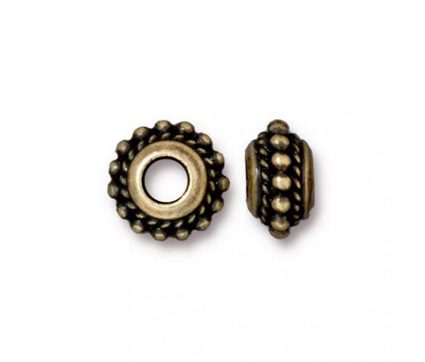 11mm Beaded Twist Large Hole Spacer by TierraCast, Brass Oxide