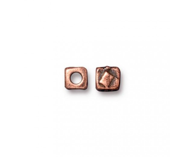 5mm Rock & Roll Textured Cube Spacer by TierraCast, Antique Copper, Pack of 4