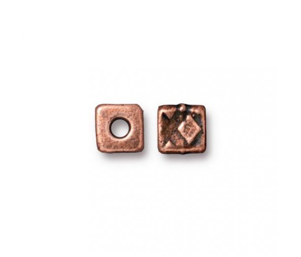 6mm Rock & Roll Textured Cube Spacer by TierraCast, Antique Copper, Pack of 4