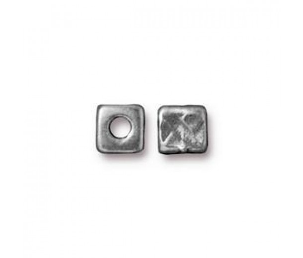 6mm Rock & Roll Textured Cube Spacers by TierraCast, Antique Pewter, Pack of 4