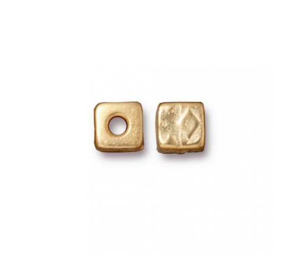 6mm Rock & Roll Textured Cube Spacer by TierraCast®, Bright Gold