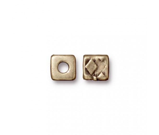6mm Rock & Roll Textured Cube Spacer by TierraCast®, Brass Oxide